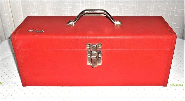 Vintage Kennedy Kits KK-19 Red Metal Tool Box with Tray Made in USA New Padlock