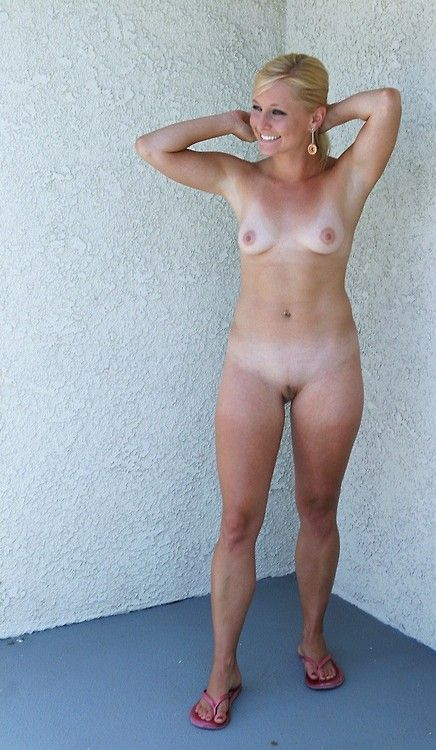 Nude mature tan lines