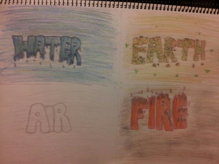 My 4 elements drawing << fire, earth, air & fire