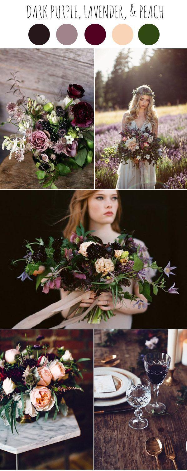 dark purple, lavender, peach and marsala moody wedding colors ideas