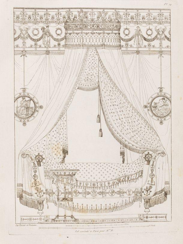 Архитекторы Пьер Фонтен и Шарль Персье – родоначальники и популяризаторы ампира. Их эскиз кровати с балдахином, 1812