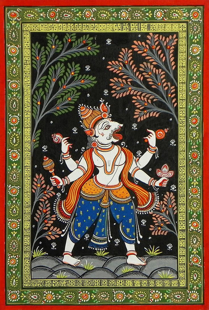 Narasimha Avatar - Fourth Incarnation of Lord Vishnu (Orissa Pata Painting on Patti - Unframed)