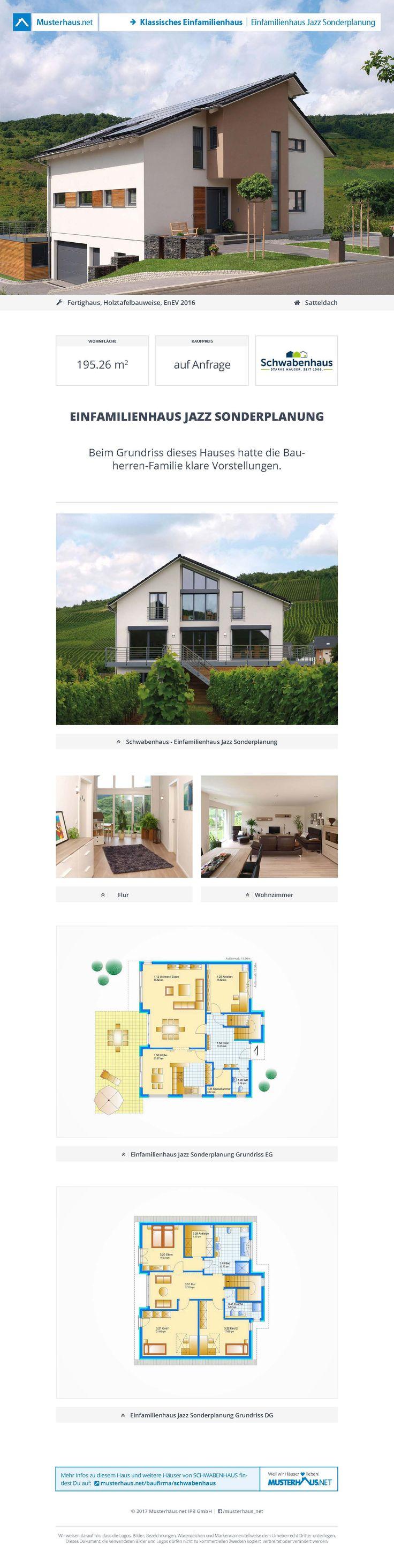 Fertighaus mit Satteldach • #Einfamilienhaus Jazz Sonderplanung •  Schwabenhaus • Jetzt bei #Musterhaus.net Unterlagen anfordern!