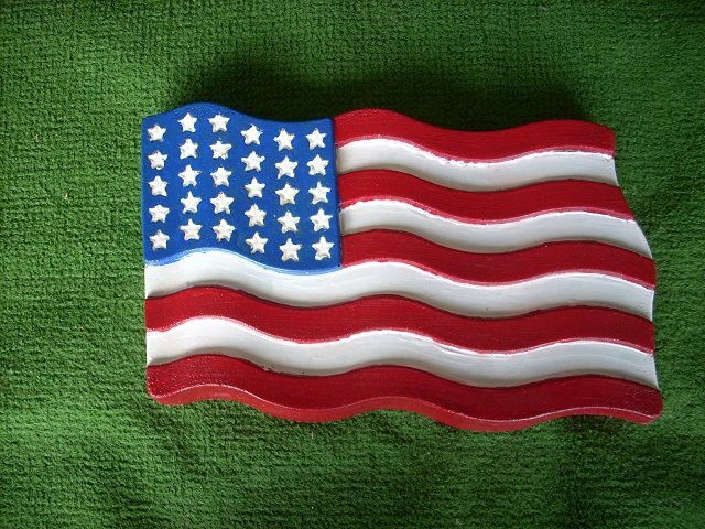 US Flag Stepping Stone Large Decorative Stone, Sealed Cement, Great For  Yard, Garden
