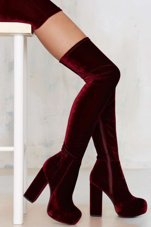 Jeffrey Campbell Bedelia Velvet Thigh-High Boot - Knee High