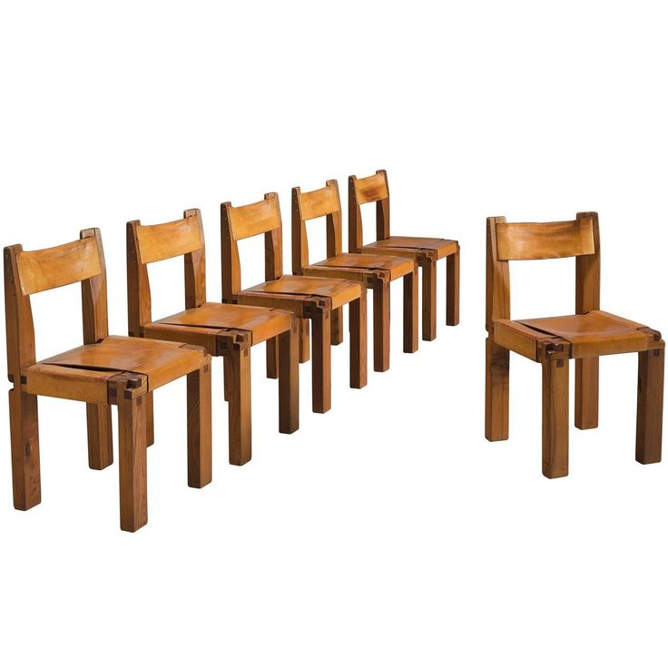 Pierre Chapo Set of Six Dining Chairs in Solid Elm and Cognac Leather