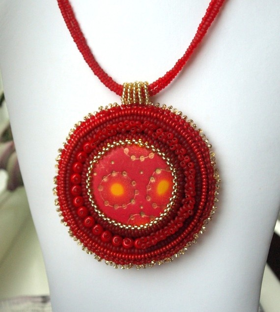 Red bead embroidered necklace by ChocolateAngel on Etsy, $25.00