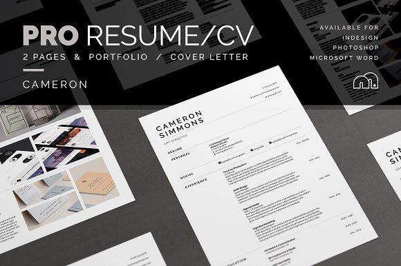 Pro Resume/CV - Cameron by bilmaw creative on @creativemarket