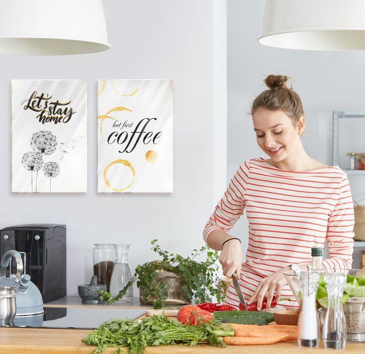 """Cuadros vidrio acrílico """"Mi casa: Let's stay home"""" y """"Mi casa: Café"""". Póster de cristal con palabras. Motivo de diseño con superficie brillante. ¡Refleja la luz, ideal para la cocina!"""