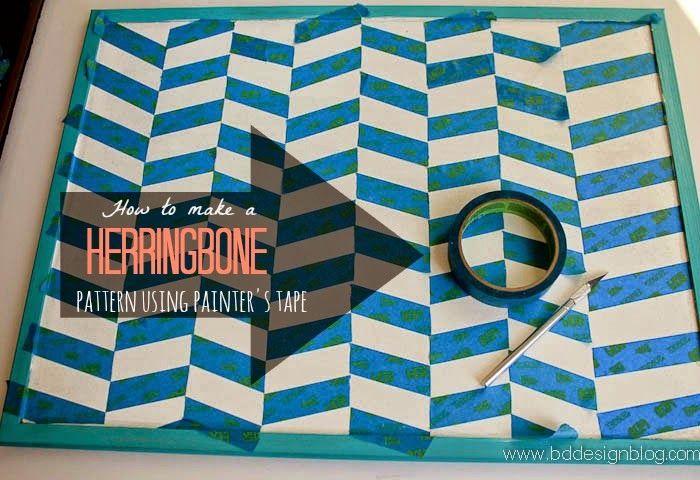How to Make The Herringbone Pattern Using Painter's Tape - Painted Confetti