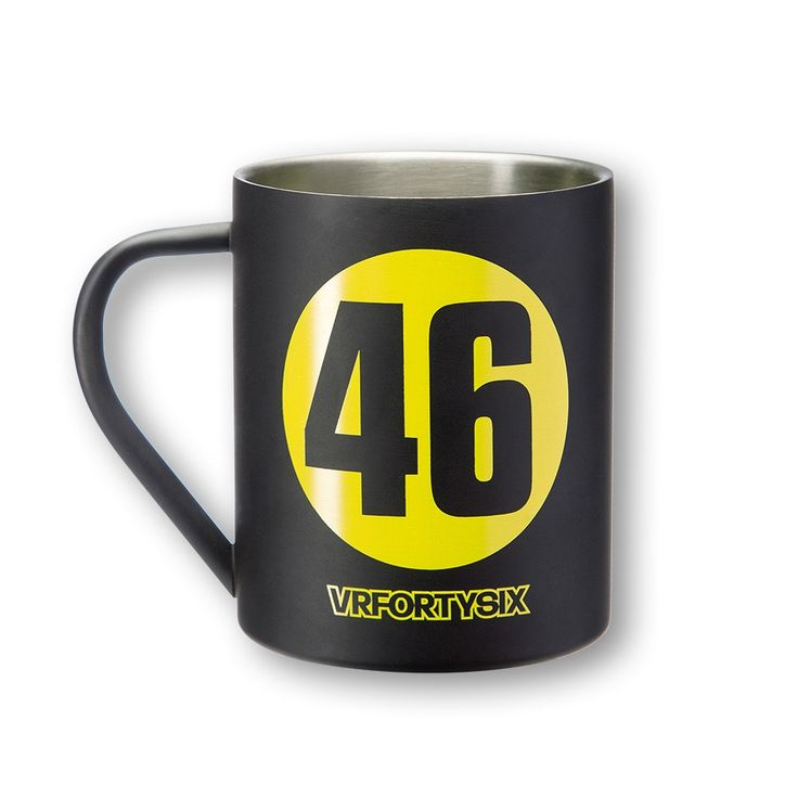 Metal mug dedicated to Valentino Rossi. On both sides an ample 46 and VRFORTYSIX