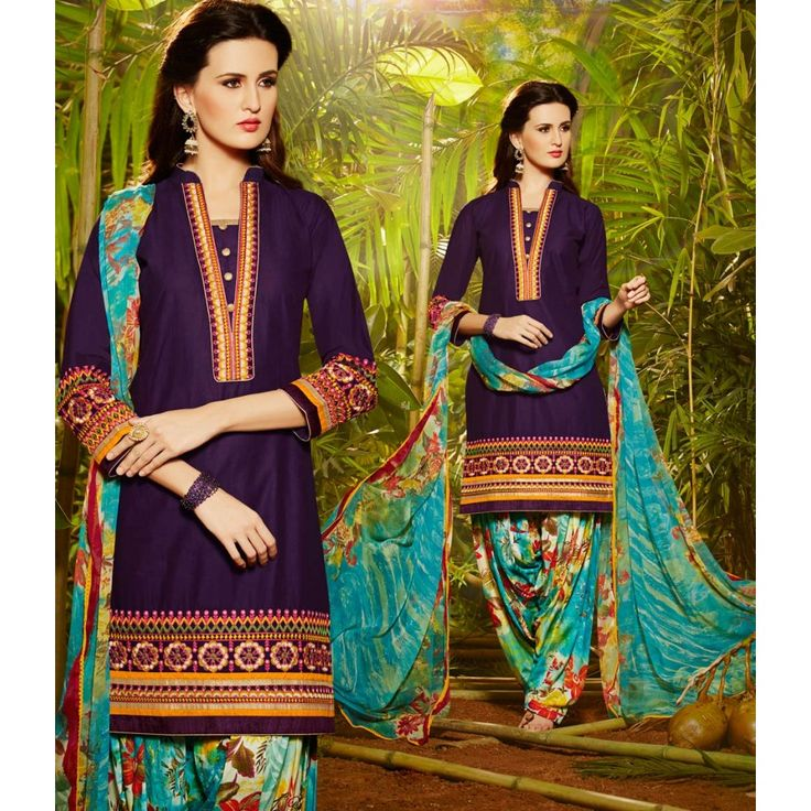 Purple Cotton Party Wear #Patiyala Kameez With Dupatta- $28.97