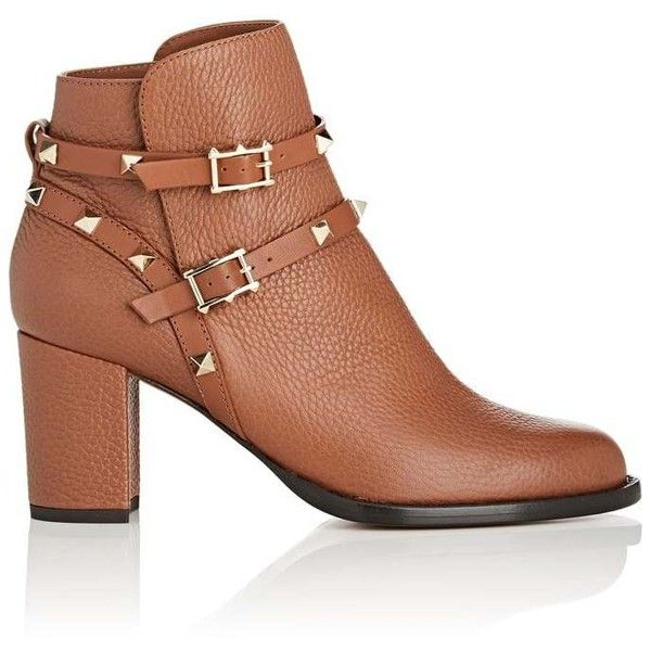 Valentino Garavani Women's Rockstud Leather Double-Strap Boots ($1,375) ❤ liked on Polyvore featuring shoes, boots, ankle booties, ankle boots, gold, block heel bootie, valentino booties, high heel bootie, short boots and ankle bootie boots