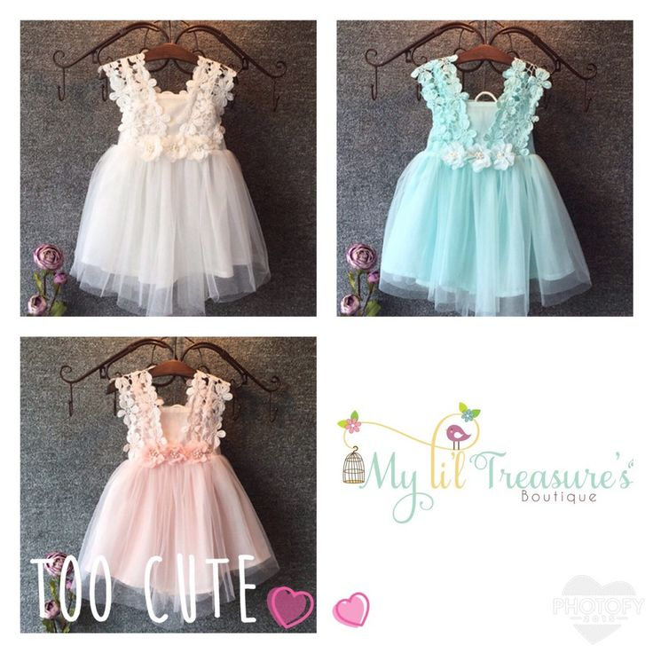 Li'l Flower Dress available in Pink, Off White or Sky Blue $28