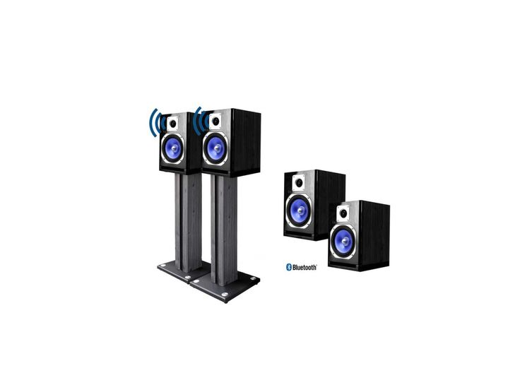 Powered 5 Wireless Bluetooth Monitor Speakers with Matching 26 Stands pair for $129.99 at eBay