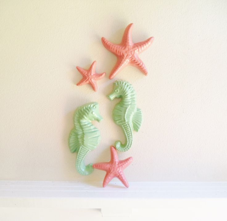 Seahorses and starfish decor,coral and mint beachy decor, nautical, coastal bathroom decor by RedwoodStoneworks on Etsy https://www.etsy.com/listing/182323120/seahorses-and-starfish-decorcoral-and