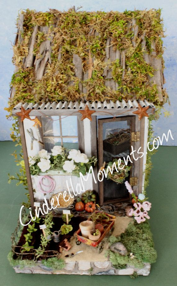 Potting shed dollhouse 1 12 scale by cinderellamoments on for Mini potting shed