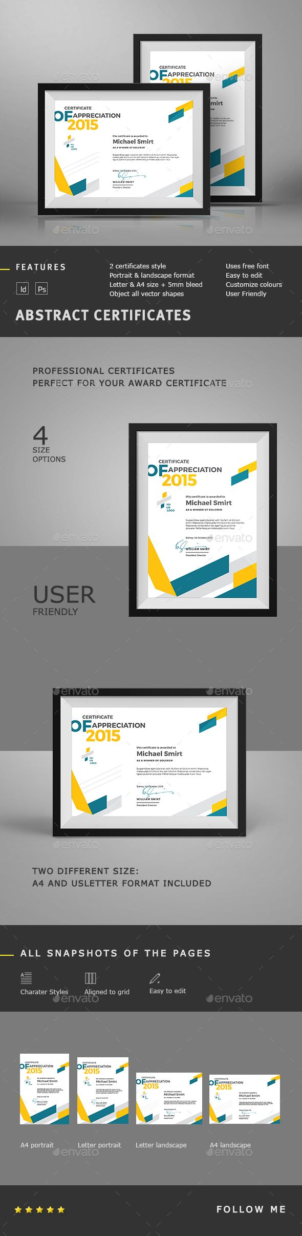 Abstract Certificates Template PSD, InDesign INDD. Download here…
