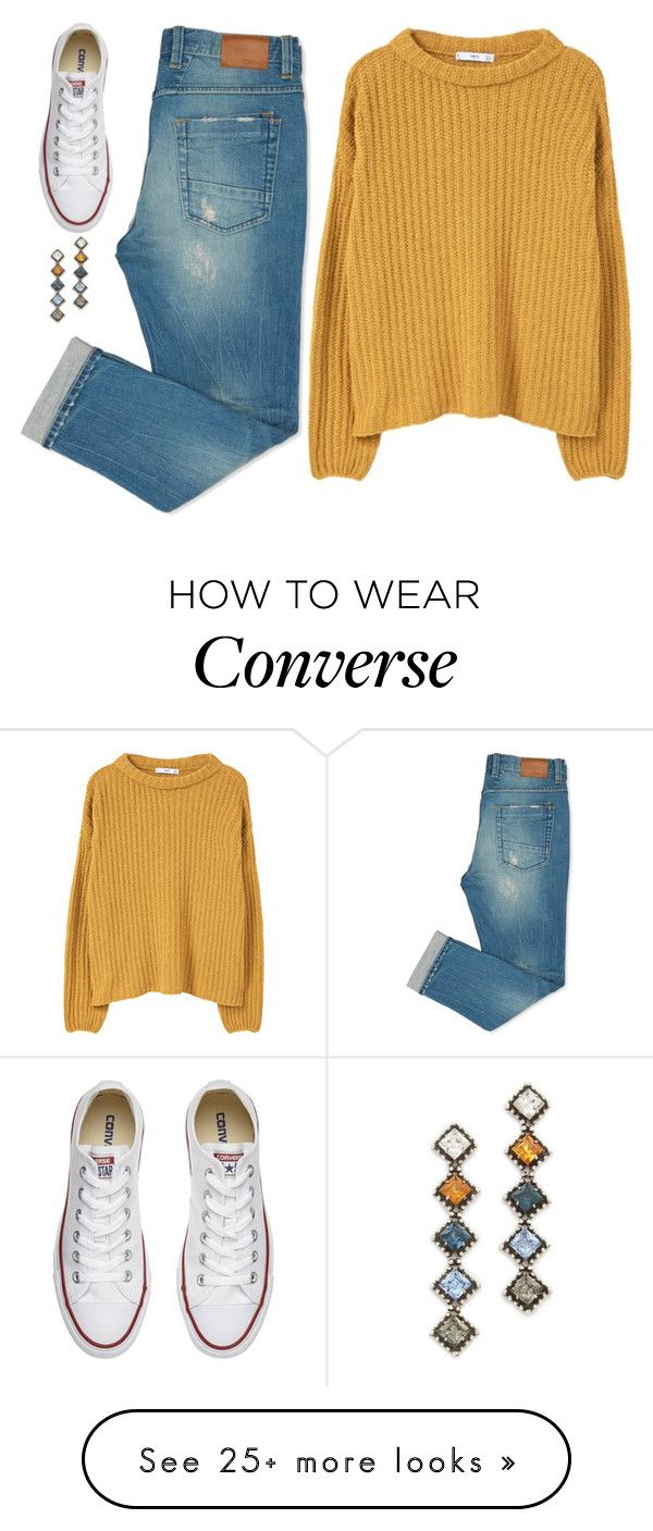 """Untitled #1183"" by samantha-hannum on Polyvore featuring MANGO, Converse and DANNIJO"