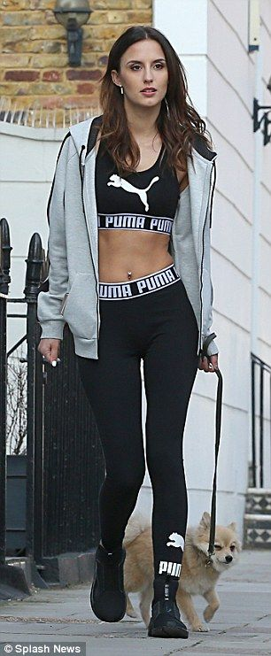 Fitness fanatic Lucy Watson flaunts her toned abs in a skimpy black sports bra and skintight leggings as she films Puma advert | Daily Mail Online