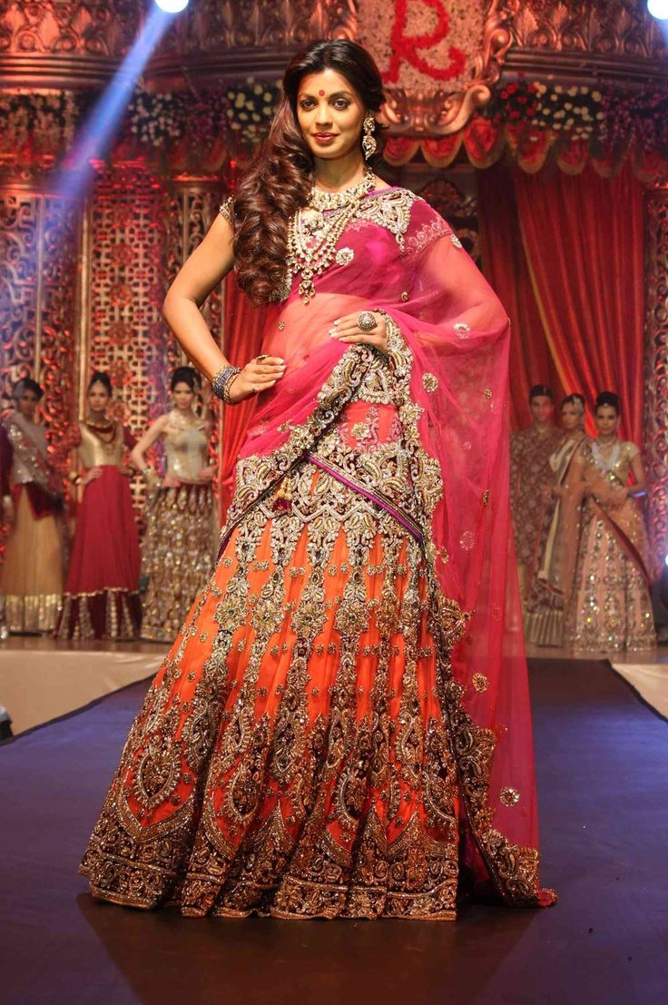 mugdha Godse designer bollywood replica bridal lehenga choli in Orange  B15384