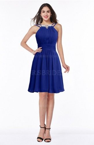 Nautical Blue Simple A-line Jewel Half Backless Beaded Bridesmaid Dresses