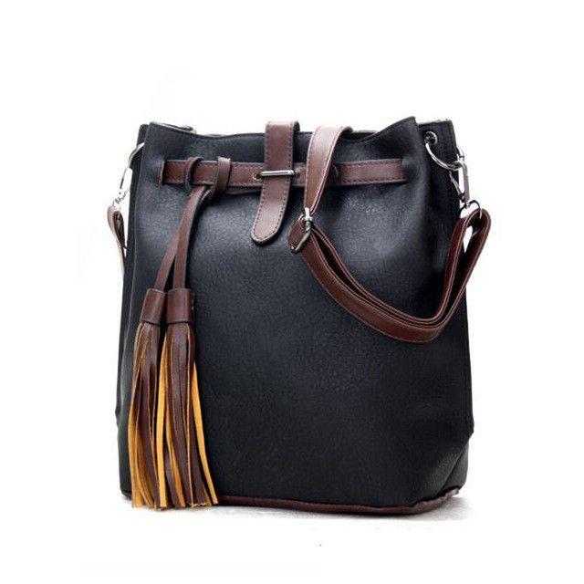HISUELY Hot Sale New Women PU Leather Handbags Tassel Fashion Designer Black Bucket Vintage Shoulder Bags Women Messenger Bag