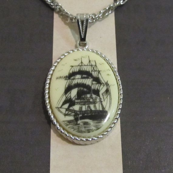 Vintage 70s Haunted Pirate Ship Necklace by MementoMoriAntiques, $35.00