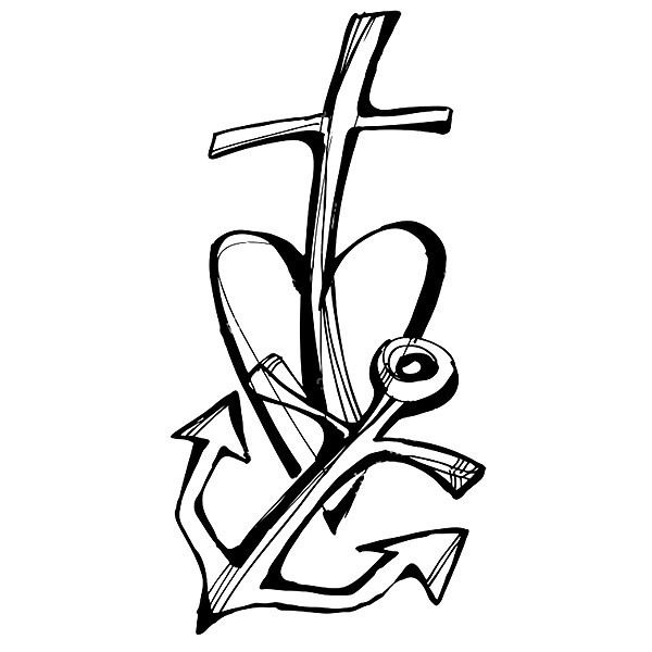 A tattoo design of the connection of three powerful symbols: anchor, heart and cross means faith and hope. Color: Black. Tags: First, Easy, Meaningful