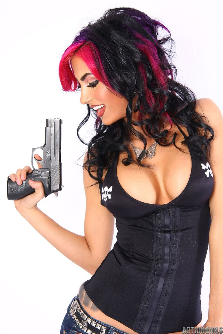 dark haire girls with pistols