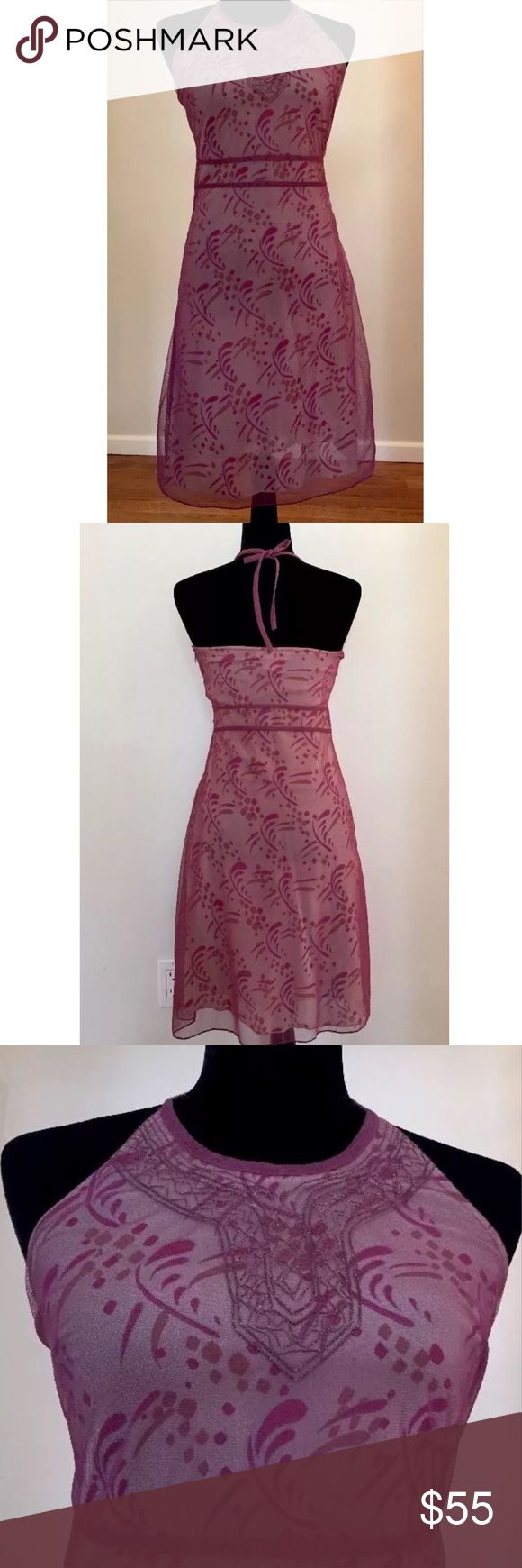 """FREE PEOPLE SHEER HALTER BOHO FESTIVAL DRESS NEW WITHOUT TAGS, EXCELLENT COND, PINK & PURPLE, SHEER FABRIC OVER A PATTERNED SLIP, LINING FOR A OVERALL COVERAGE, GOLD TONE EMBROIDERY, Bust 12"""", armpit to armpit, Waist 13"""", laying flat Length 29"""", armpit to hemline. Free People Dresses Midi"""