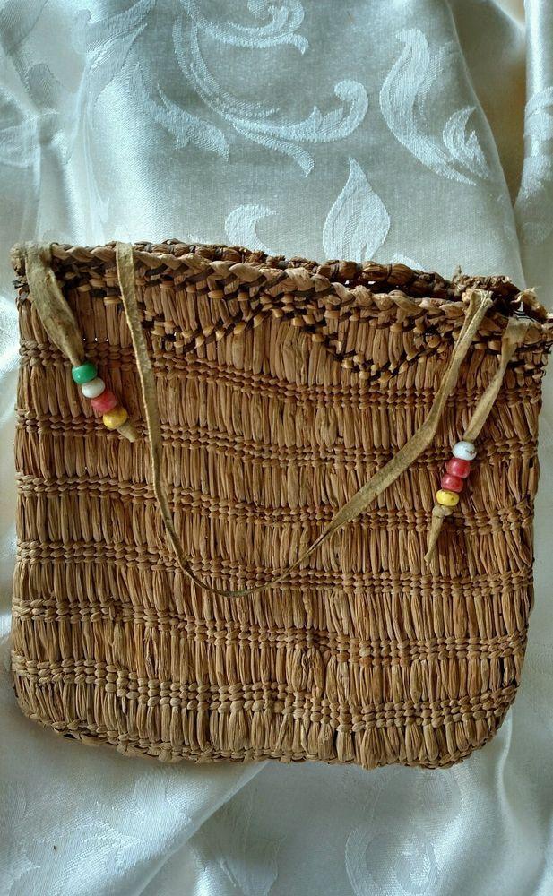 Antique Native American Pacific Northwest Coast, Grass woven Handbag