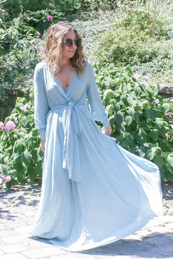 Feminine Mystique Wrap Maxi Dress - Blue Mist