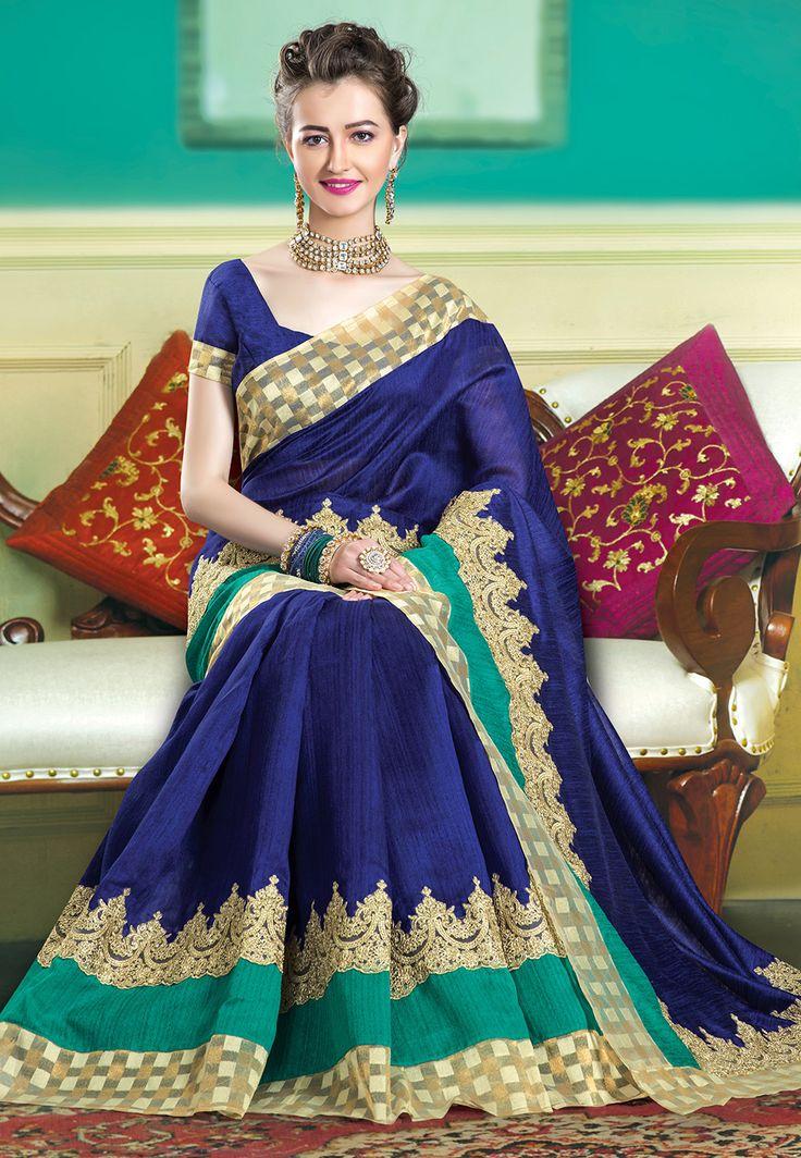 Matka Silk #Saree in #Blue
