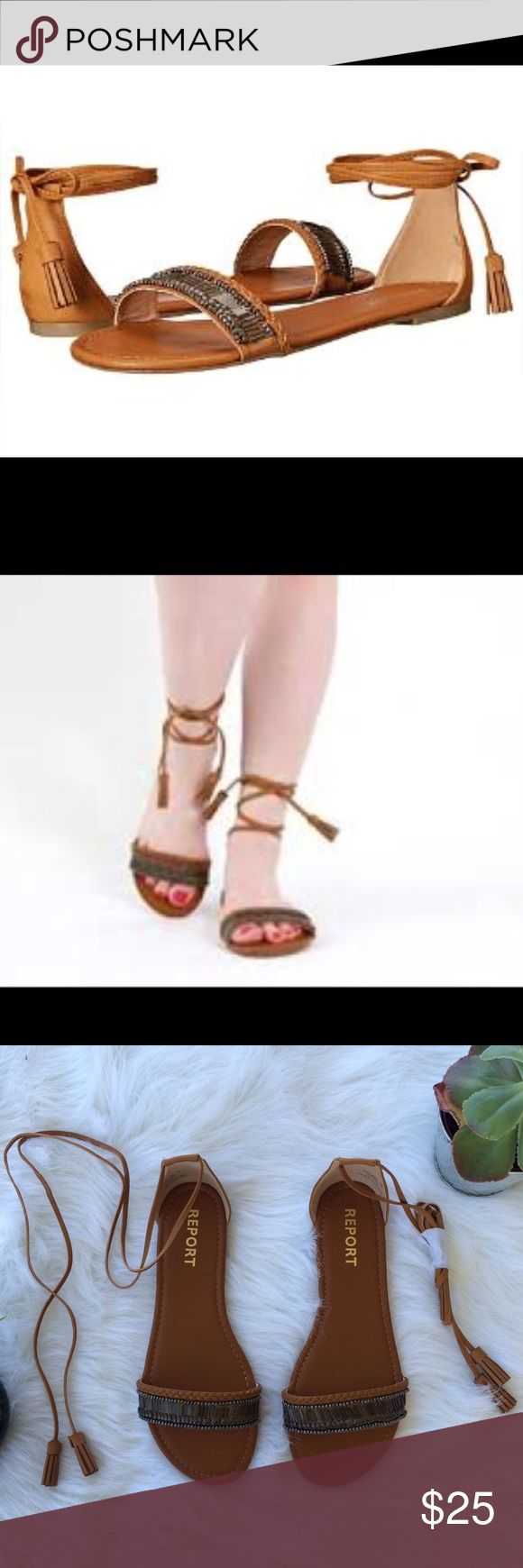 Report Greek Ankle Wrap Sandals Beautiful ankle wrap Grecian sandals! New in box. Size 9. Report Shoes Sandals