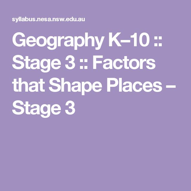 Geography K–10 :: Stage 3 :: Factors that Shape Places – Stage 3