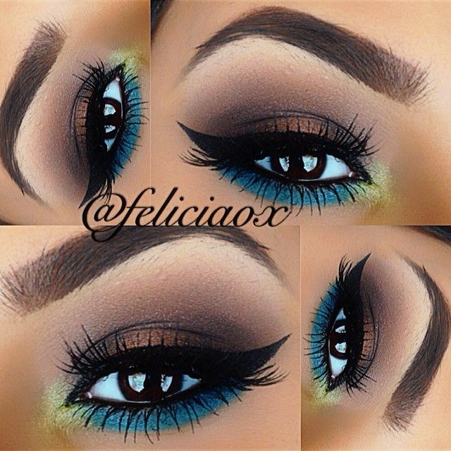 totally different on the bottom.ok I tried this today...not having all the same colors this asked for I tried Serling plum on the lower lid,light gray on inner and outer lids and slightly above that. Light pink on top. Gold on inner and bottom too. Blue green on the bottom. Amazing Really!!!!