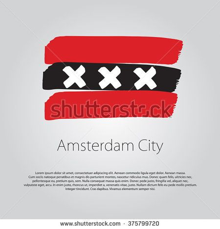 Amsterdam City Flag with colored hand drawn lines in Vector Format