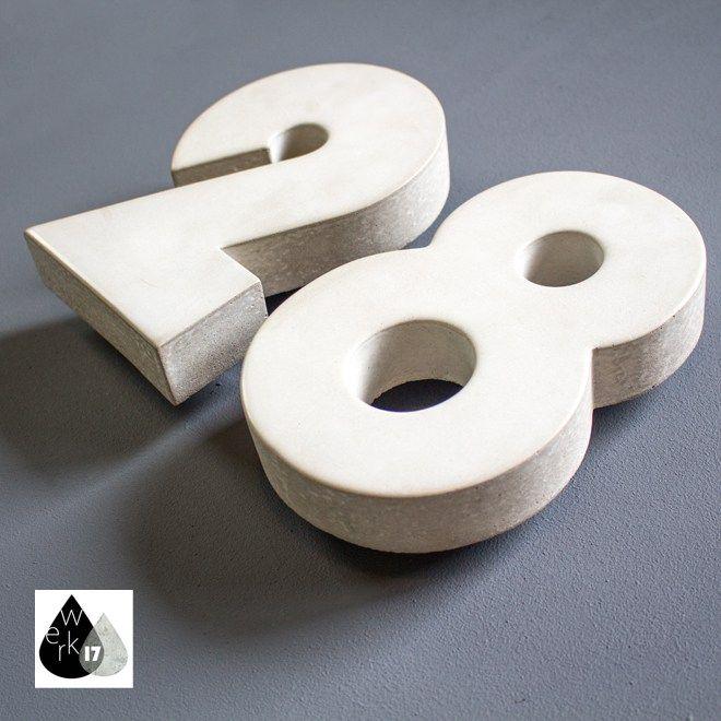 Hausnummer Aus Beton Farbe Weiss Desgin Bauhaus