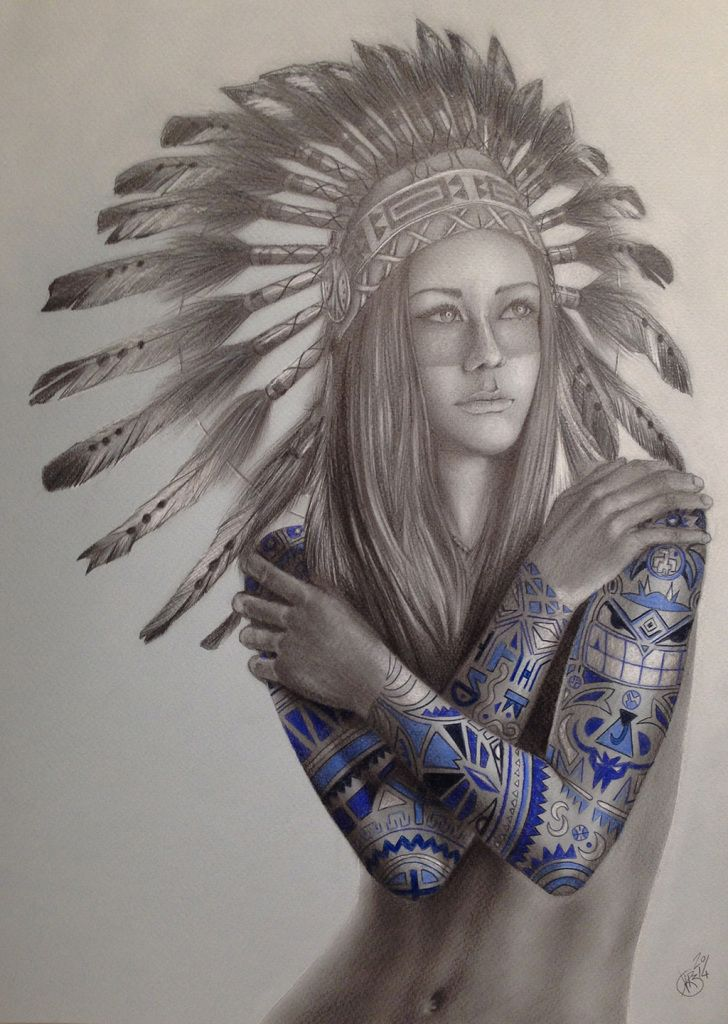 Native girl tattoo by davide franceschini illustration for Girl tattoo artist