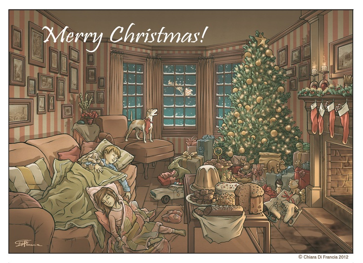 Merry Christmas !! - Art by © Chiara Di Francia -   http://chiaradifranciailblog.blogspot.it/    ( blog that collects comics , illustrations , print and sketch /  blog qu'il recueille bandes dessinées , illustrations , etampes et croquis )