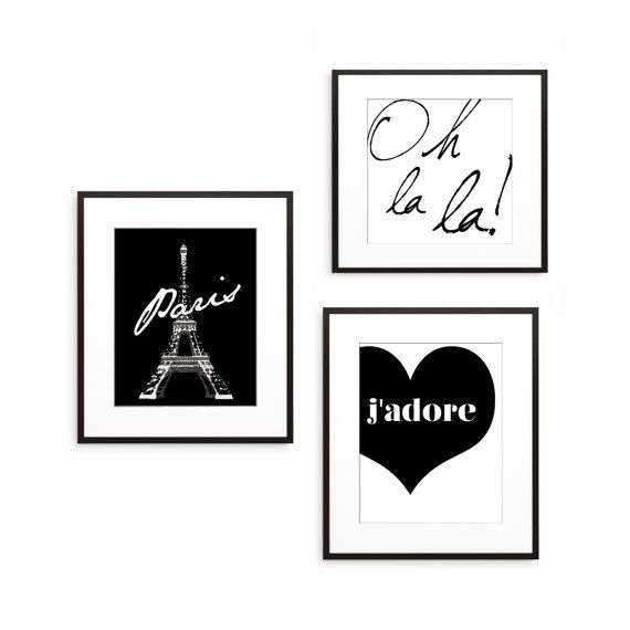NEW YEARS SALE Paris Eiffel Tower - Oh La La - J'adore - Paris Decor - Wall Decor - Home Decor - French Art - Paris Bedroom Decor