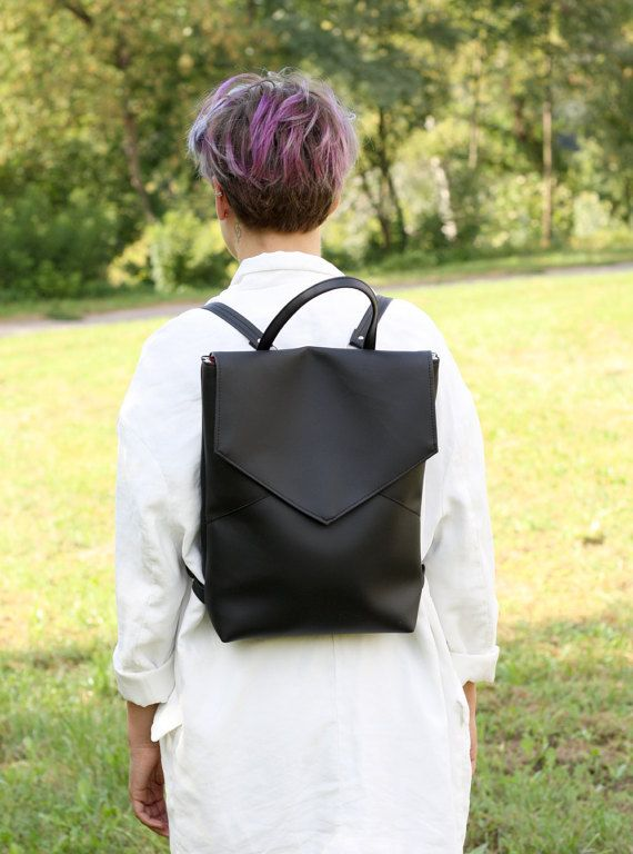 Vegan leather backpack  Black minimal style backpack  by Sugulovas