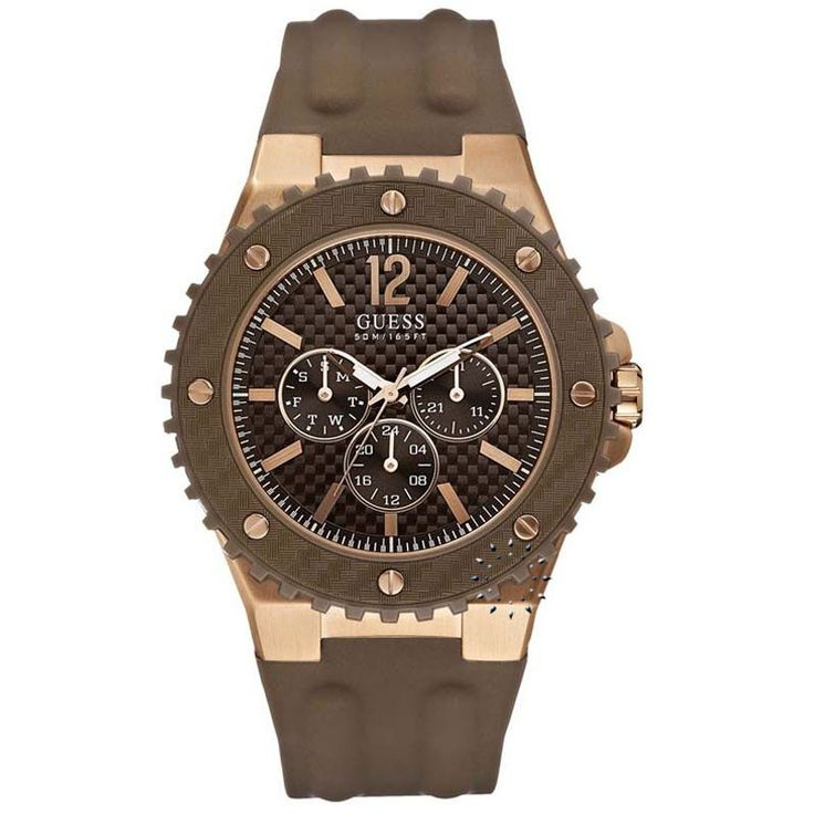 GUESS Rose Gold MultiFunction Brown Rubber Strap  142€  http://www.oroloi.gr/product_info.php?products_id=27435