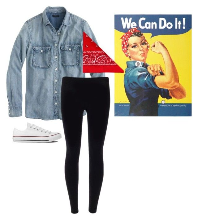 """Halloween Costume- Rosie the Riveter"" by southernprep-lizzie ❤ liked on Polyvore featuring J.Crew, Converse and NLY Accessories"
