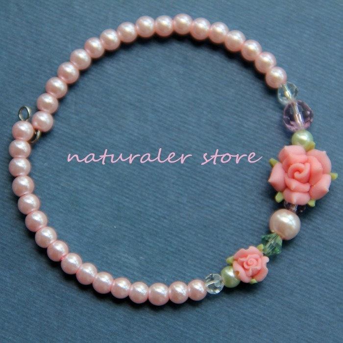 Beautiful  Flowers Champagne Beads Bracelet- Polymer Clay Bracelets