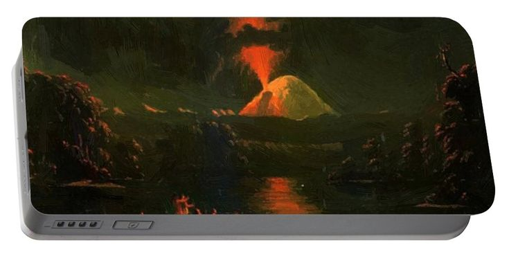 Mount Portable Battery Charger featuring the painting Mount St Helens Erupting At Night by Kane Paul