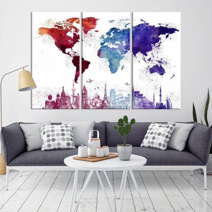 16249 - Large Wall Art World Map Watercolor Canvas Print  - World Map Poster Print