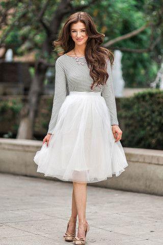 Eloise White Tulle Midi Skirt