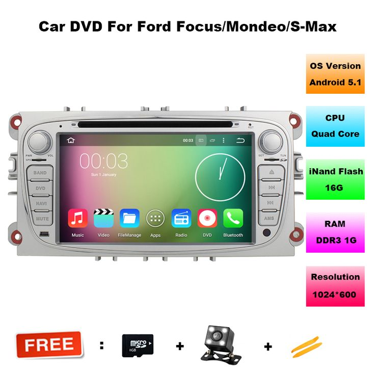 Quad Core Android 5.1 Car DVD GPS For Ford Mondeo Focus 2 S-max 2007 2008 2009 2011 2013 with Radio Navigation Bluetooth+Canbus #Affiliate